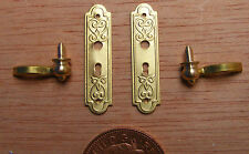 1:12 Scale Traditional Brass Door Handle & Plate Set Dolls House Miniature 665