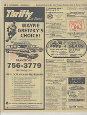 Wayne Gretzky Phone Book Yellow Pages Thrifty Car Rental 1990's Magazine Ad