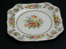 PAREEK JOHNSON BROTHERS ENGLAND BY 20CM SQUARE MULTI FLORAL GILT TRIM. c1945