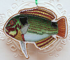 Glittered Wooden Tropical Fish Ornament~Colorful Fish ~Vintage Image