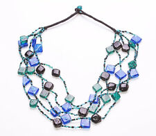 ECCENTRIC BLUE, GREEN & BLACK GLASS BEADS MULTI STRANDS STATEMENT NECKLACE(ZX47)