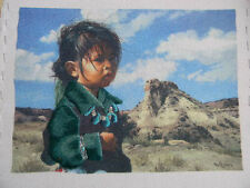 Completed Simplicity Colorart Crewel NAVAJO LITTLE ONE Indian Girl 13x16 JCA New