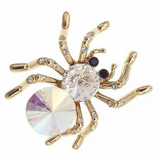 Vintage Design Spider Pin Brooch Halloween Costume Jewelry Crystal Clear Gold T