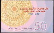 Vietnam 50 Dong Commemorative Polymer Note In Folder P-118 ND 2001