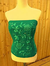 PEARCE FONDA Beautiful Green Silk Embroidered Corset Top Size 14