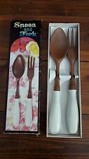 Vintage retro spoon and fork salad servers. Plastic wood with ceramic handles.