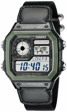 CASIO WORLD TIME DIGITAL WATCH AE1200WHB-1BV - 5 Alarm - Chrono etc