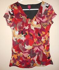 212 Collection Top S Artsy Floral Layered Stretch Knit Nylon Casual TOP Blouse