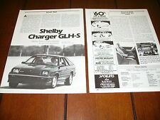 1987 CARROLL SHELBY DODGE CHARGER GLH-S   ***ORIGINAL ARTICLE***