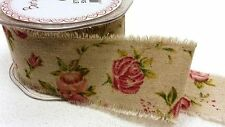 Antique Rose Print Burlap Ribbon - Extra Wide 50mm - Wedding Vintage Per 3 Metre