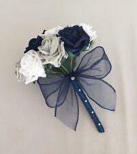 WEDDING FLOWERS ARTIFICIAL WHITE NAVY SILVER FOAM ROSE BRIDESMAID BOUQUET