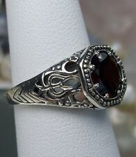 Natural 1.75ct Red Garnet Sterling Silver Victorian Design Filigree Ring  Size 9