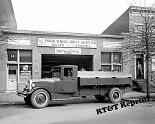 Photograph Vintage Menominee Factory 4 Wheel Drive Oil Truck 1920   8x10