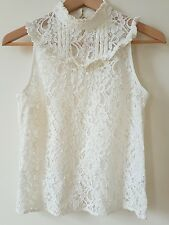 Lace Cream High Neck Top Vintage Victorian Look- Miss Selfridge Size 10 SOLD OUT