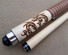 McDermott Star Series S64 Pool Cue 3D 'Dragon' Leather Wrap, FREE Predator Chalk