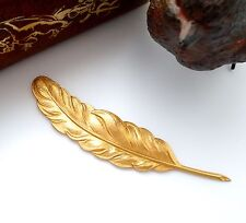 BRASS 2 FEATHER PLUME Brass Stampings ~ Finding Bird Feathers (FA-6094)