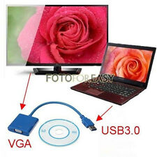 USB 3.0 to VGA Cord Video Graphic Card Display LCD Monitor Cable Adapter +Driver