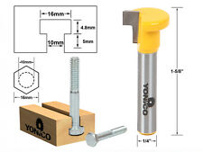 "T-Slot Cutter Router Bit for 10mm Hex Bolt - 1/4"" Shank - Yonico 14191q"