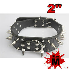 Rivet Spiked Studded Leather Collar Pet Dog Puppy PitBull Mastiff Terrier Size M
