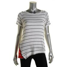 Red Haute 8116 Womens White Striped Short Sleeves Pullover Top Shirt L BHFO