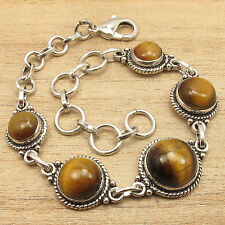 Chunky Bracelet 8 5/8 Inches ! 925 Silver Overlay Authentic TIGER'S EYE Jewelry