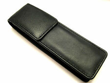 Black Soft Napa Leather Double Magnetic Flap Pen/Pencil  Case/Pouch