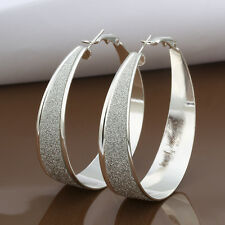 Large 925 Stamped Sterling Silver Filled SF Dusty Hoop  Earrings E-A497