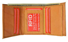 TAN RFID Security Blocking Block Men Leather ID Card Center Flap Trifold Wallet