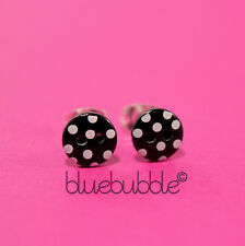 FUNKY SMALL MINI BLACK WHITE POLKA DOT BUTTON STUD EARRINGS KITSCH CUTE RETRO