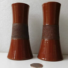 """Pair of antique spill holder vases with match striker surface Osman Pottery 6"""""""