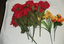 Lot of Very Nice Artificial Flowers 4 bunches Red roses + Tulips + daffodils