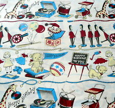 Vintage 1950s Gift Wrap Gift Wrapping Paper  KIDS BIRTHDAY TOY SOLDIERS DOLLS