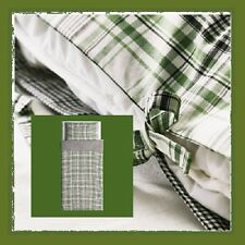IKEA Snarjmara TWIN Duvet Cover Set Pillowcase SNÄRJMÅRA Green Black Plaid Check