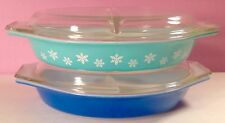 VINTAGE PYREX DIVIDED CASSEROLE LOT of TWO TURQUOISE SNOWFLAKE AND BRIGHT BLUE