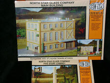 NORTH STAR GLASS Building & ** 5 STORY CHIMNEY ** 2 Kits HO Scale Train *SEALED*