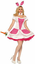 Country Bunny Adult Sexy Bunny Costume White & Pink Rabbit Dress Size Standard
