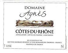 ETIQUETTE DE VIN DE FRANCE   COTES DU RHONE   DOMAINE AGNES