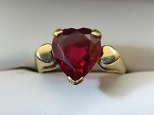 VINTAGE 10KT GOLD RED RUBY HEART GEMSTONE RING sz 8.5