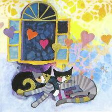 4x tableau unique fête serviettes en papier pour découpage craft cat r.w. flying hearts
