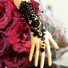 Charm Wedding  Black Pearl Women's Gothic Hand Lace Rose Bracelet Ring Jewelry