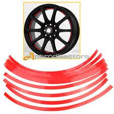 """16x 10mm Strisce Adesive Sticker Rosso Riflettente Moto Auto Ruote Cerchi 14-26"""""""