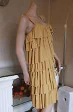 Joseph Ribkoff BNWT 10 Delightful Layered Stretchy Mustard Ochre Strappy Dress