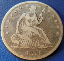 1876 CC Half Dollar Seated Liberty Fine F Original Toned Carson City Coin #7715