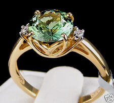 2.25ct Genuine Green Tanzanite Solitaire w/Diamonds 14k Solid Gold Ring, Size 7