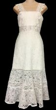 Alexis Dress White  Embroidered Flair At Bottom Size 0 XS