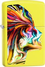 Zippo 2016 Catalog NEW Color Face Painted Women Neon Yellow Lighter 29083