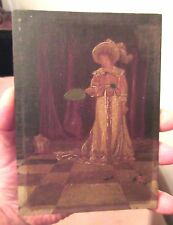 antique 1800s original mini Victorian Lady + dog figural oil painting wood panel
