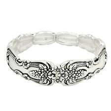 "Spoon Jewelry Bracelet Stretch Bangle Floral Flowers SILVER Metal Classic 3/4""W"