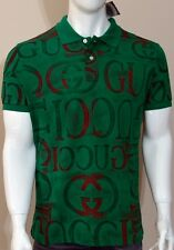 NWT Men's Gucci Polo Neck Green Slim Fit Short Sleeve T-shirt Size S