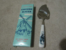 Vintage DELFT ELESVA DBL Cheese Slicer Knife with Blue Windmill Ceramic Handle